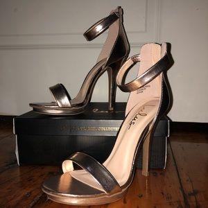 Lulu's Shoes - BNIB Rose Gold Ankle Strap Heels